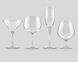 set of transparent glass goblets - EPS10 vector illustration