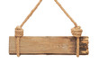 close up of an empty wooden sign hanging on a rope on white back