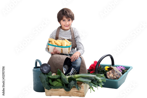 little boy gathering fresh vegetables in the garden