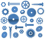 Vector materials (tooth wheels, screws, circular saw)