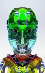 Cyborg, robot, Androide volto, crash test, informatica, computer