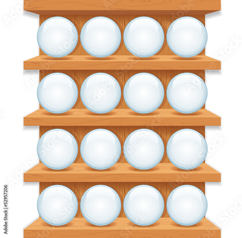 Wooden Shelf with Round Glass Buttons. Vector Art