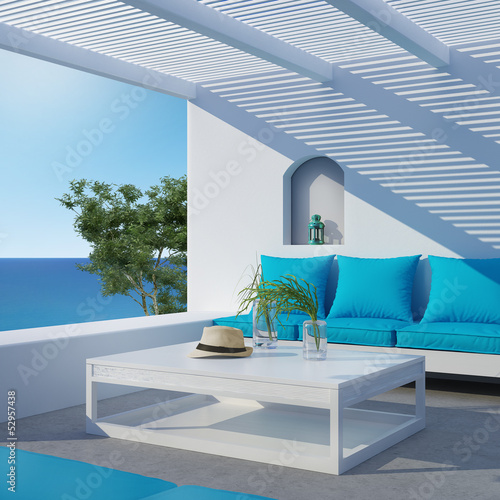 Aegean luxury hotel summer lounge  veranda