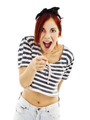 Excited pin-up style woman on white background with finger