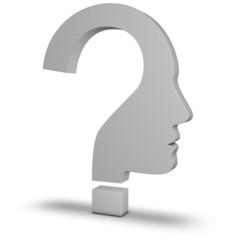Kopf als Fragezeichen