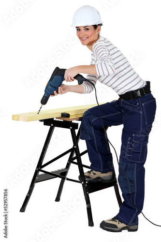 Girl using drill