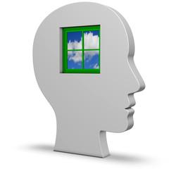 Kopf mit Fenster