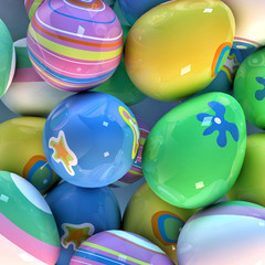 Easter eggs closeup