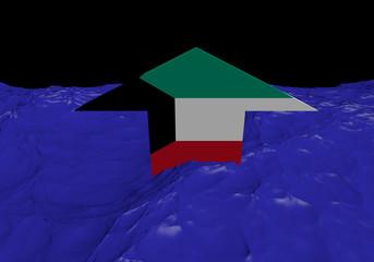 Kuwait flag arrow in abstract ocean illustration
