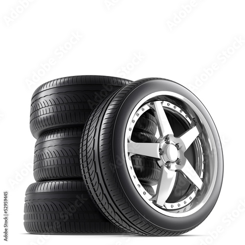 Wheels on white background