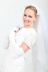 Woman in bride costume