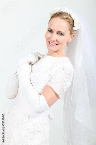 Woman in bride costume