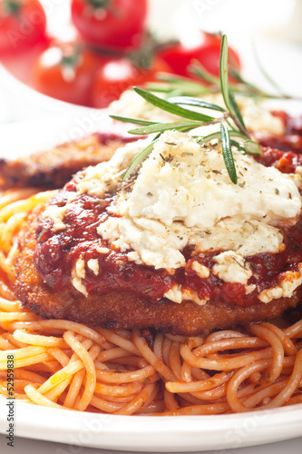 Chicken parmesan with spaghetti pasta