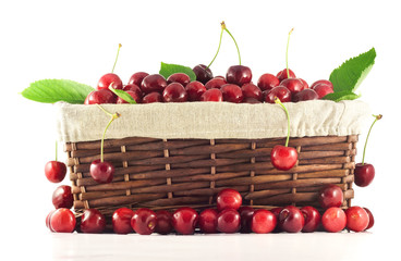 A basket full of cherries