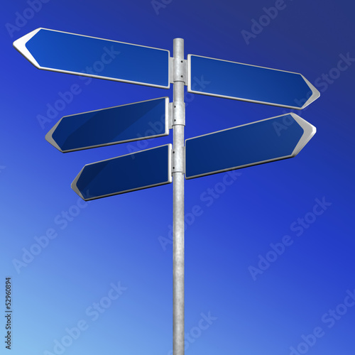 BLue directionl signs on a blue background