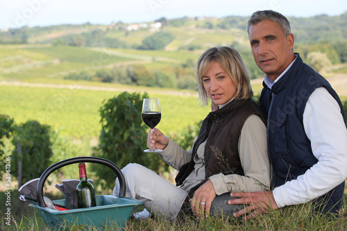 Couple having a picnic in the countryside