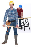 Two male carpenters