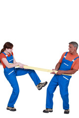 Couple holding plank of wood