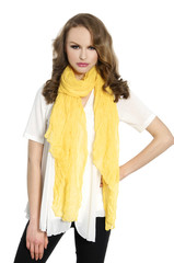 full length casual girl with yellow scarf posing