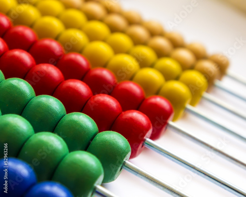 Close up wooden abacus with selective focus