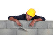 Tradesman asleep on the job