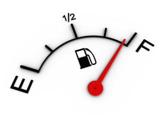 3d image of fuel gauge shows full tank