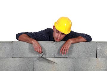 Tradesman asleep on the job