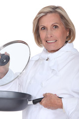 Chef holding a sauteing pan