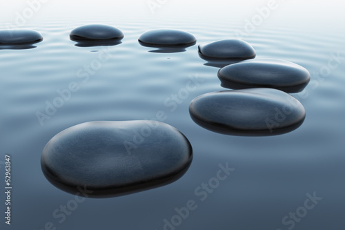 Pebbles in water.