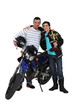 Father and son with motorcycle and trophy