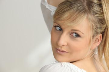 Portrait of blonde woman