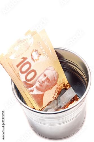 Hundred Canadian dollar bills in a pot