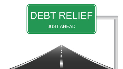 Debt relief road sign concept