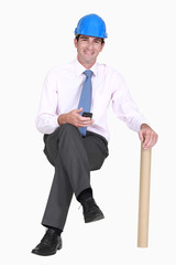 Engineer sitting on an invisible stool
