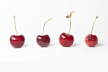 Be different! Cherries on White Background.