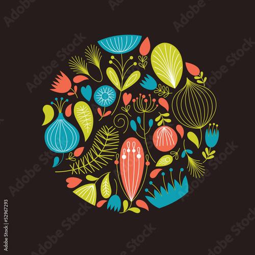 Floral illustration on the dark background