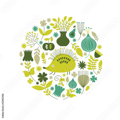 Floral illustration with cute the hedgehog and flowers
