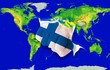 Fist in color  national flag of finland    punching world map