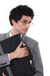 Man clutching a briefcase