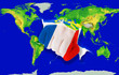 Fist in color  national flag of france    punching world map