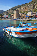 Fishing wooden boats at Mondello, Sicily