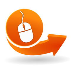 souris sur bouton web orange