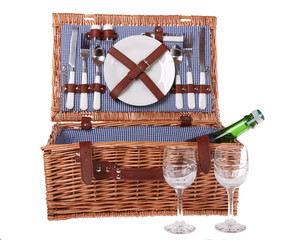 Wooden basket for picnic isolated over white