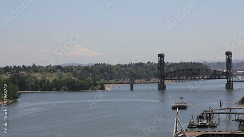 Industrial Shipyard and Steel Bridge in Swan Island Oregon