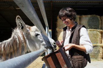 female farmer feeding donkey