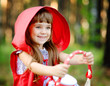 """girl in the wood with a basket in hands. """" Red Riding Hood"""""""