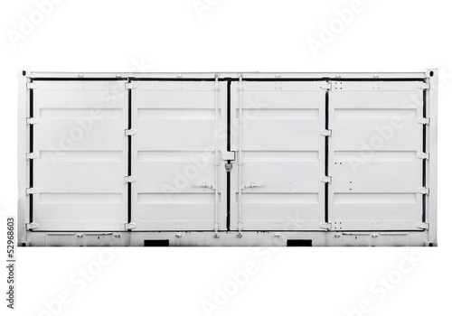 White metal container with doors isolated on white. Front view