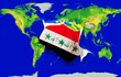 Fist in color  national flag of iraq    punching world map