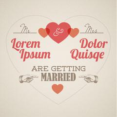 Vector Retro Wedding invitation with hearts