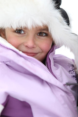 Cute little girl in winter coat